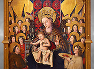 Virgin Mary; Mother of God; The Virgin; Mare de deu; Gothic altarpiece of Madonna and Child by Joan Reixach of Barcelona, circa 1450, tempera and gold leaf on wood, from the sanctuary of San Pau d'Albocasser, Castello..  National Museum of Catalan Art, Barcelona, Spain, inv no: MNAC  64055. Against a grey art background. .<br /> <br /> If you prefer you can also buy from our ALAMY PHOTO LIBRARY  Collection visit : https://www.alamy.com/portfolio/paul-williams-funkystock/gothic-art-antiquities.html  Type -     MANAC    - into the LOWER SEARCH WITHIN GALLERY box. Refine search by adding background colour, place, museum etc<br /> <br /> Visit our MEDIEVAL GOTHIC ART PHOTO COLLECTIONS for more   photos  to download or buy as prints https://funkystock.photoshelter.com/gallery-collection/Medieval-Gothic-Art-Antiquities-Historic-Sites-Pictures-Images-of/C0000gZ8POl_DCqE