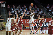 Southern California Trojans forward Chevez Goodwin (1) shoots over Stanford Cardinal froward Brandon Angel (23) during an NCAA men's basketball game, Wednesday, March 3, 2021, in Los Angeles. USC defeated Stanford 79-42. (Jon Endow/Image of Sport)
