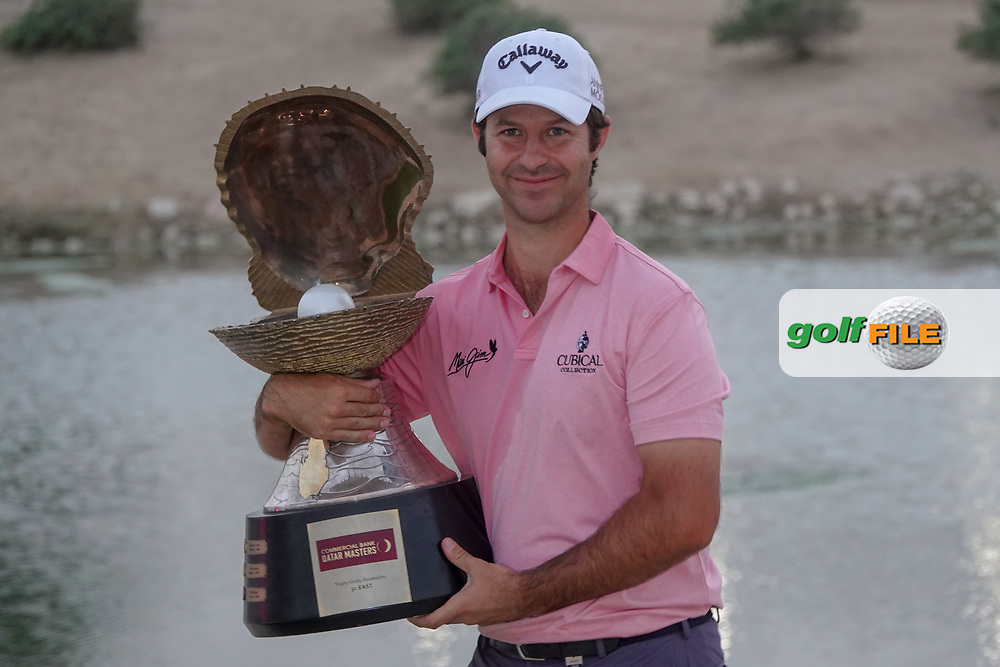 Jorge Campillo (ESP) poses with the trophy after the final round of the Commercial Bank Qatar Masters 2020, Education City Golf Club , Doha, Qatar. 07/03/2020<br /> Picture: Golffile | Phil Inglis<br /> <br /> <br /> All photo usage must carry mandatory copyright credit (© Golffile | Phil Inglis)