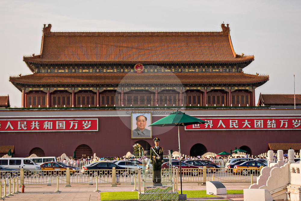 A PLA guard stands at Tian'an Men gate or the Gate of Heavenly Peace in Beijing, China