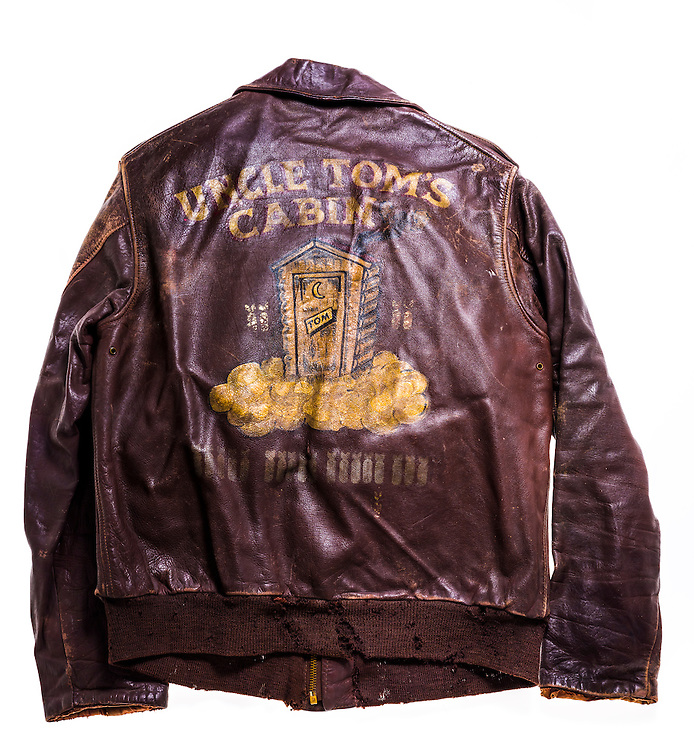 """The A-2 """"bomber jacket"""" of Walter Hood Thomason of Atlanta, Georgia.  Uncle Tom's Cabin was the name of the B-17 he piloted."""