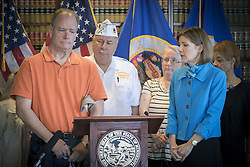 August 16, 2017 - St. Paul, MN, USA - United States - Stephen Schmalz, a Gulf War Veteran, shared his story regarding a lending scam before other veterans, seniors, and Attorney General Lori Swanson during a press conference announcing a lawsuit against the company that victimized the veterans & seniors, Wednesday, August 16, 2017 in St. Paul, MN.   ]  ELIZABETH FLORES • liz.flores@startribune.com (Credit Image: © Elizabeth Flores/Minneapolis Star Tribune via ZUMA Wire)