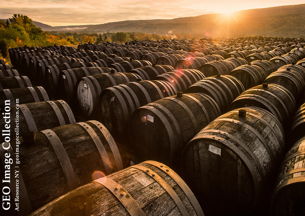 Casks of wine are aged for four years in oak casks for the solera aging process to make sherry at the Widmer Wine Cellars in Naples, New York. Solera, literally a set of barrels,  is a process for aging liquids including wine for fractional blending. Naples is on Canandaigua Lake.