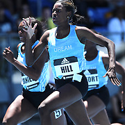 Candace Hill, USA, winning the 100m Women's Girls Dream Competition during the Diamond League Adidas Grand Prix at Icahn Stadium, Randall's Island, Manhattan, New York, USA. 13th June 2015. Photo Tim Clayton