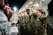 Cadet Arista Couture braces with her company before taking part in The Gauntlet, the final, most grueling physical training exercise before being recognized as full members of the South Carolina Corps of Cadets, on Friday, March 13, 2020. <br /> <br /> Credit: Cameron Pollack / The Citadel