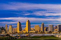 View from the ferry landing on Coronado Island across San Diego Bay to Downtown San Diego, California USA.