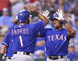 July 14, 2017 - Kansas City, MO, USA - Texas Rangers' Adrian Beltre celebrates his three-run home run with Elvis Andrus in the sixth inning during Friday's baseball game against the Kansas City Royals July 14, 2017 at Kauffman Stadium in Kansas City, Mo. The Rangers won, 5-3. (Credit Image: © John Sleezer/TNS via ZUMA Wire)