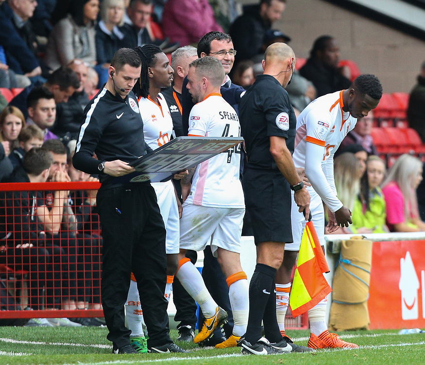 Blackpool manager Gary Bowyer pats Jay Spearing on the back after he made his debut<br /> <br /> Photographer Alex Dodd/CameraSport<br /> <br /> The EFL Sky Bet League One - Walsall v Blackpool - Saturday 14th October 2017 - Bescot Stadium - Walsall<br /> <br /> World Copyright © 2017 CameraSport. All rights reserved. 43 Linden Ave. Countesthorpe. Leicester. England. LE8 5PG - Tel: +44 (0) 116 277 4147 - admin@camerasport.com - www.camerasport.com