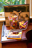 """The Portland, Oregon home of Wendy Burden, author of  the memoir, Dead End Gene Pool.  An arrangement by Ms. Burden in the office off of the living room.  Ms. Burden is pictured jumping her horse, """"Patriot."""""""