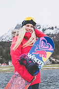British Freestyle Snowboarder Katie Ormerod on 07th May 2017 in Silvaplana, Switzerland. Silvaplana is a municipality in the Maloja Region in the Swiss canton of Graubünden and the name of a lake in the municipality. Its popular alpine sports destination.