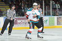 KELOWNA, CANADA, FEBRUARY 15: Tyrell Goulbourne #12 drops the gloves against the Edmonton OIl Kings at the Kelowna Rockets on February 15, 2012 at Prospera Place in Kelowna, British Columbia, Canada (Photo by Marissa Baecker/Shoot the Breeze) *** Local Caption ***
