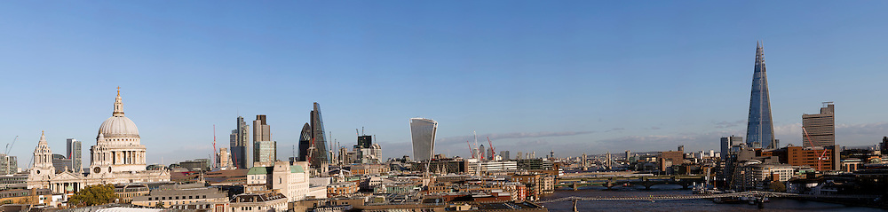 Daylight panoramic view of London showing St Pauls and the Shard