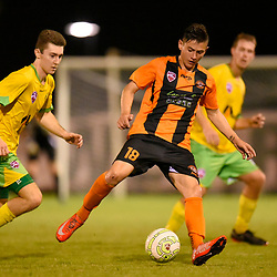 BRISBANE, AUSTRALIA - MARCH 17: Jayden Balarezo of Easts in action during the FQPL Senior Men's Round 7 match between Eastern Suburbs and Rochedale Rovers on March 17, 2018 in Brisbane, Australia. (Photo by Eastern Suburbs / Patrick Kearney)
