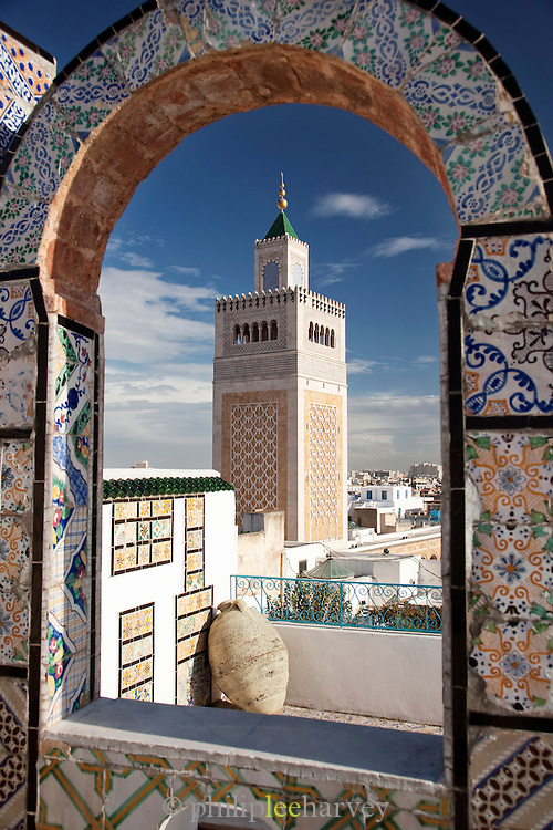 High view of Al-Zaytuna Mosque in Ezzitouna, Tunisia