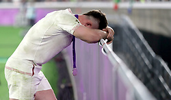 England's George Ford looks dejected after the 2019 Rugby World Cup final match at Yokohama Stadium.