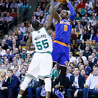 26 March 2013: New York Knicks shooting guard J.R. Smith (8) takes a jumpshot over Boston Celtics shooting guard Terrence Williams (55) during the New York Knicks 100-85 victory over the Boston Celtics at the TD Garden, Boston, Massachusetts, USA.