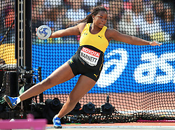 Jamaica's Tarasue Barnett competes in the Women's Discus Throw Qualifying during day eight of the 2017 IAAF World Championships at the London Stadium