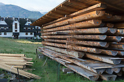 Timber stocks ready for new housing in the southern Polish mountains, on 16th September 2019, Koscielisko, Zakopane, Malopolska, Poland. Local wealth has encouraged tourism apartments and short-stay properties in the Zakopane and Tatra National Park region, a very popular outdoor activity destination for city-dwelling Poles.