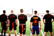 The University of Wisconsin Naval ROTC is seen at the Dave McClain Athletic Facility playing flag football in Madison, Wisconsin on March 10, 2012.