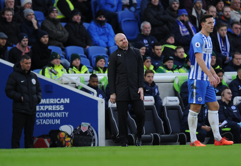 Burnley manager Sean Dyche shouts instructions to his team from the technical area<br /> <br /> Photographer Ashley Western/CameraSport<br /> <br /> The Premier League - Brighton and Hove Albion v Burnley - Saturday 16th December 2017 - The Amex Stadium - Brighton<br /> <br /> World Copyright © 2017 CameraSport. All rights reserved. 43 Linden Ave. Countesthorpe. Leicester. England. LE8 5PG - Tel: +44 (0) 116 277 4147 - admin@camerasport.com - www.camerasport.com