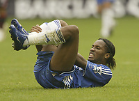 Photo: Aidan Ellis.<br /> Sheffield United v Chelsea. The Barclays Premiership. 28/10/2006.<br /> Chelsea's Didier Drogba picks up an injury