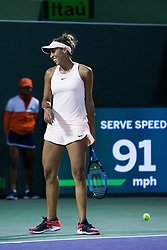 March 22, 2018 - Key Biscayne, FL, U.S. - KEY BISCAYNE, FL - MARCH 22: Madison Keys (USA) in action on Day 4 of the Miami Open on March 22, 2018, at Crandon Park Tennis Center in Key Biscayne, FL. (Photo by Aaron Gilbert/Icon Sportswire) (Credit Image: © Aaron Gilbert/Icon SMI via ZUMA Press)