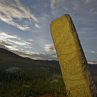A mysterious 2700+ year-old, bronze age Deer Stone at Ulaan Tolgai, near Lake Erkhel & Muren, Mongolia.