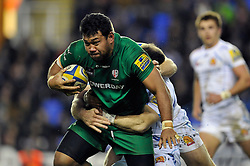 Ofisa Treviranus of London Irish takes on the Chiefs defence - Photo mandatory by-line: Patrick Khachfe/JMP - Mobile: 07966 386802 11/01/2015 - SPORT - RUGBY UNION - Reading - Madejski Stadium - London Irish v Exeter Chiefs - Aviva Premiership