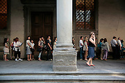 Uffizi, queue of people who haven't prebooked tickets, Florence, Italy, Florence, Italy