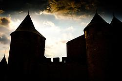 The sun sets behind the Chateau Comtal in the medieval  Cité de Carcassonne in France.<br /> <br /> (c) Andrew Wilson | Edinburgh Elite media
