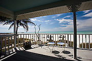 Shoreline and beach from deck of vacation home, Anna Maria Island, Florida