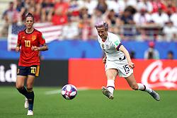 USA's Megan Rapinoe (right) in action as Spain's Jennifer Hermoso looks on