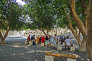 Group of pilgrims on a pilgrimage at Capernaum Sea of Galilee, Israel