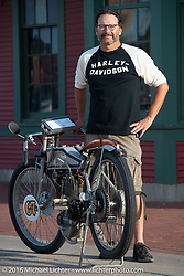 Harley-Davidson Museum Archive Restorer/Conservator Bill Rodencal with his 1915 Harley-Davidson on display at the Dodge City finish line during the Motorcycle Cannonball Race of the Century. Stage-8 from Wichita, KS to Dodge City, KS. USA. Saturday September 17, 2016. Photography ©2016 Michael Lichter.