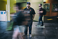 Martin Leyva, an ex convict, stand outside of class where he is a teacher's assistant, on Thursday, April 12, 2018 at Cal State San Marcos in San Marcos, California.(Photo by Sandy Huffaker for Yahoo News)