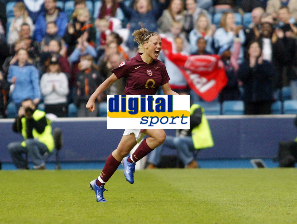 Photo: Chris Ratcliffe.<br /> Leeds United v Arsenal. Womens' FA Cup Final. 01/05/2006.<br /> Lianne Sanderson of Arsenal Ladies celebrates her goal in the 5-0 win.