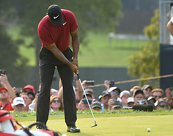 August 12, 2018 - St. Louis, Missouri, U.S. - ST. LOUIS, MO - AUGUST 12: Tiger Woods birdies his shot on the 18th green to finish second during the final round of the PGA Championship on August 12, 2018, at Bellerive Country Club, St. Louis, MO.  (Photo by Keith Gillett/Icon Sportswire) (Credit Image: © Keith Gillett/Icon SMI via ZUMA Press)