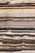 Strata of ash & sedimentary rocks<br /> Chimborazo Volcano (Highest mountain in Ecuador 6384.4 meters or 20702 feet)<br /> Andes<br /> ECUADOR, South America<br /> Inactive Volcano