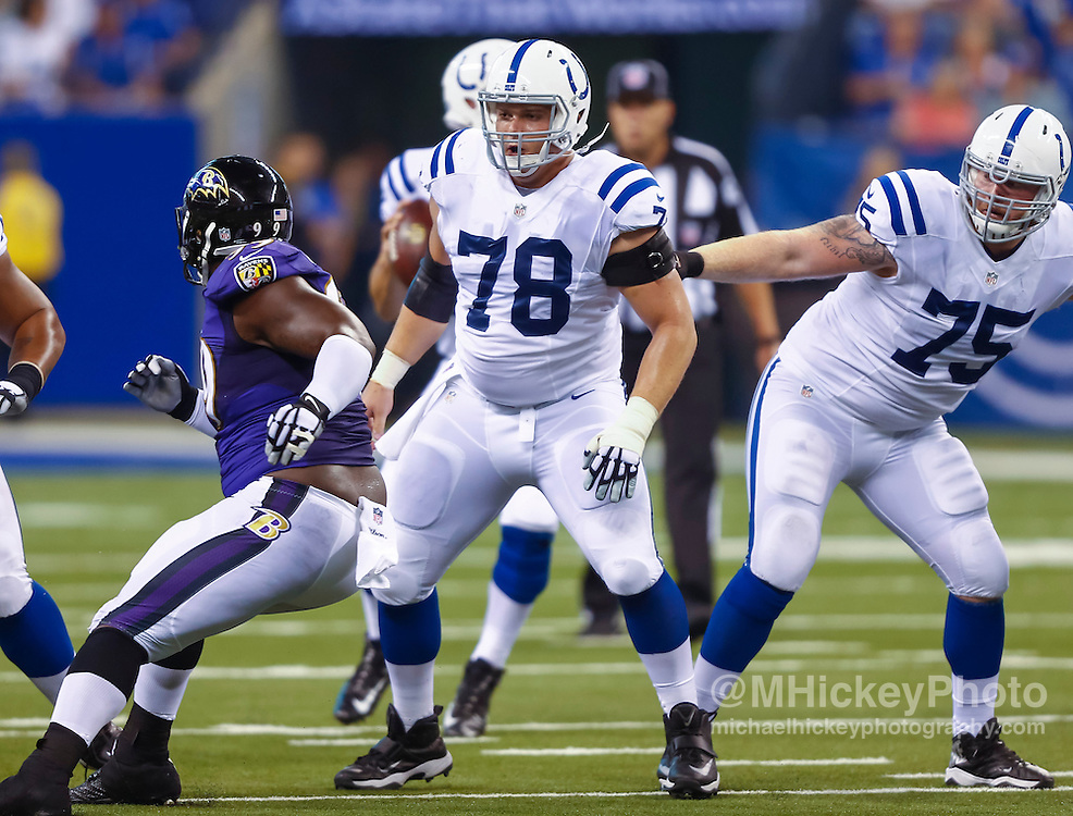 INDIANAPOLIS, IN - AUGUST 20: Ryan Kelly #78 of the Indianapolis Colts is seen during the game against the Baltimore Ravens at Lucas Oil Stadium on August 20, 2016 in Indianapolis, Indiana.  (Photo by Michael Hickey/Getty Images) *** Local Caption *** Ryan Kelly