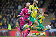 Norwich City forward Teemu Pukki (22) strides forward during the EFL Sky Bet Championship match between Norwich City and Queens Park Rangers at Carrow Road, Norwich, England on 6 April 2019.