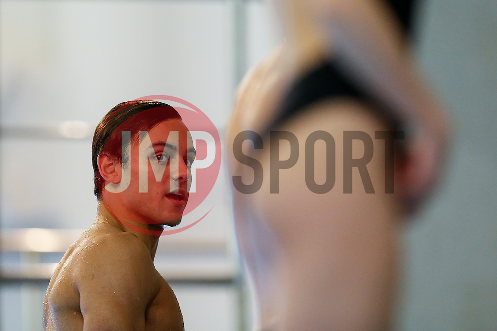 Tom Daley from Dive London Aquatics Club looks on during  warm up - Mandatory byline: Rogan Thomson/JMP - 23/01/2016 - DIVING - Southend Swimming & Diving Centre - Southend-on-Sea, England - British National Diving Cup Day 2.