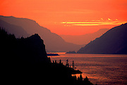 Image of the Columbia River Gorge near Hood River at sunset, Oregon, Pacific Northwest by Randy Wells