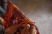 Barreirinhas_MA, Brasil.<br /> <br /> Processo de fabricao de artesanato de buriti no povoado de Marcelino. Na foto, artesa trabalha a fibra do Buriti usando um tear e a tecnica de Macrame.<br /> <br /> The manufacture of handicrafts process in the Buriti Marcelino Village. In this photo art of making macrame. <br /> <br /> Foto: LEO DRUMOND / NITRO