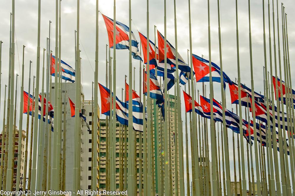 Cuban flags over Havana, Habana, Cuba.