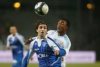 FOOTBALL - FRENCH CHAMPIONSHIP 2009/2010  - L1 - OLYMPIQUE MARSEILLE v AJ AUXERRE - 23/12/2009 - PHOTO PHILIPPE LAURENSON / DPPI - AYEN (OM) / BERTHOD (AUX)