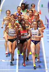 Great Britain's Laura Muir (left) in action during the Women's 3000m final during day one of the 2018 IAAF Indoor World Championships at The Arena Birmingham, Birmingham.