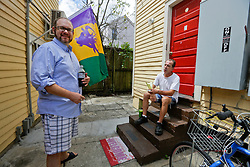 18 August. New Orleans, Louisiana.<br /> Radio NOLA HIV 102.3 LPFM.<br /> Station manager Andrew Ward (l) and Chris Rose go over the upcoming show.<br /> Photo©; Charlie Varley/varleypix.com
