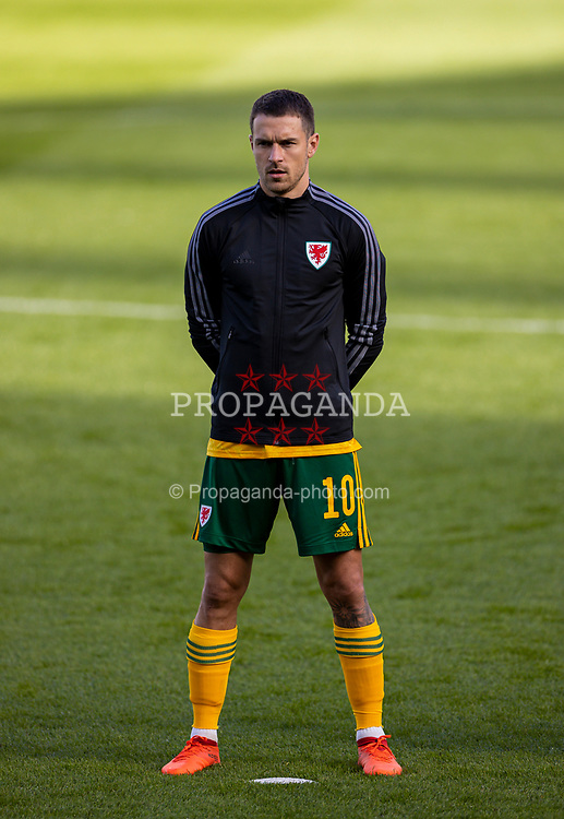 DUBLIN, REPUBLIC OF IRELAND - Sunday, October 11, 2020: Wales' captain Aaron Ramsey lines-up for the national anthem before the UEFA Nations League Group Stage League B Group 4 match between Republic of Ireland and Wales at the Aviva Stadium. The game ended in a 0-0 draw. (Pic by David Rawcliffe/Propaganda)