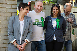 London, UK. 22 May, 2019. Caroline Lucas (l), Green Party MP for Brighton Pavilion, campaigns for the European elections on the Central Hill Estate in Gipsy Hill, Lambeth, with Cllr Pete Elliott and Gulnar Hasnain, who is on the Green Party list in London. After Gibraltar, Lambeth is the most pro-Remain area of the UK with 78.6% having voted Remain in 2016. There was a large swing to the Green Party in Gipsy Hill, historically a safe Labour seat, in May 2018 when Pete Elliott was elected as a Green councillor.