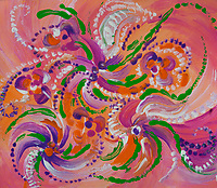abstract multicolored flower art on pink: flower like image in bright colors with swirls on pink backgrund